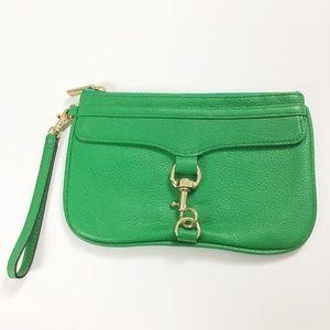 Rebecca Minkoff green gold leather wristlet clutch